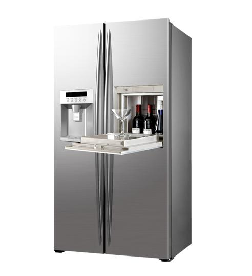 598L Side By Side Refrigerator Freezer Super Freezing CE Approval With Ice Maker And Home Bar