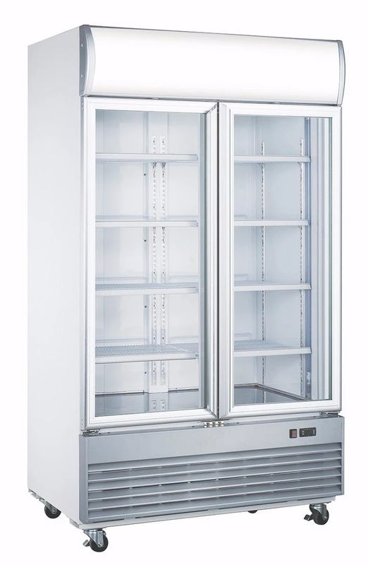 1038L No Frost Upright Diplay Freezer , Fan Cooling Glass Door Refrigerator
